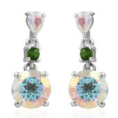 Mercury Mystic Topaz, Russian Diopside Platinum Over Sterling Silver Earrings TGW 3.65 cts.