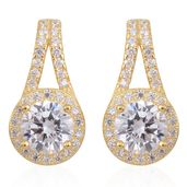 Simulated Diamond 14K YG Over Sterling Silver Drop Earrings TGW 3.50 cts.