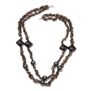 Brazilian Smoky Quartz Chips, Hematite, Black Agate Sterling Silver Double Strand Necklace (20 in) TGW 306.76 cts.