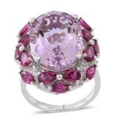 Rose De France Amethyst, Orissa Rhodolite Garnet, Cambodian Zircon Sterling Silver Ring (Size 9.0) TGW 14.25 cts.