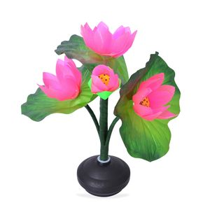 Pink Fiber Optic Tulip Lamp with Flashing LED Lights (3 AA Batteries not Included) (11.5x3 in)