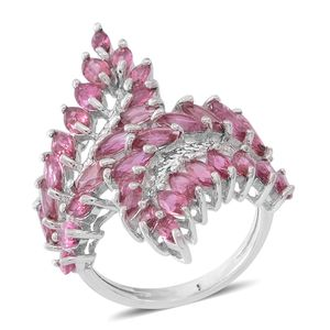 Morro Redondo Pink Tourmaline Sterling Silver Cluster Bypass Ring (Size 8.0) TGW 4.28 cts.
