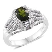 Russian Diopside, White Topaz Platinum Over Sterling Silver Ring (Size 10.0) TGW 2.54 cts.