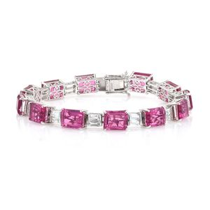 Doorbuster Radiant Orchid Quartz, White Topaz Platinum Over Sterling Silver Statement Bracelet (8.00 In) TGW 52.04 cts.