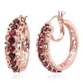 Morro Redondo Pink Tourmaline 14K RG Over Sterling Silver Hoop Earrings TGW 3.36 cts.