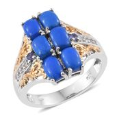 Ceruleite, Tanzanite, Cambodian Zircon 14K YG and Platinum Over Sterling Silver Ring (Size 8.0) TGW 3.25 cts.