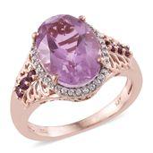 Pink Moscato Quartz, Orissa Rhodolite Garnet, Cambodian Zircon 14K RG Over Sterling Silver Ring (Size 5.0) TGW 6.54 cts.