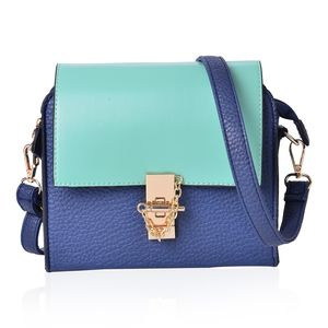 Aqua and Blue Faux Leather Crossbody Bag with Zipper Closure (8x3x7 in)