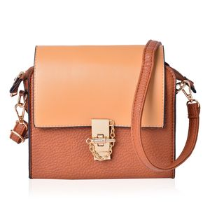 Beige and Camel Faux Leather Crossbody Bag with Zipper Closure (8x3x7 in)