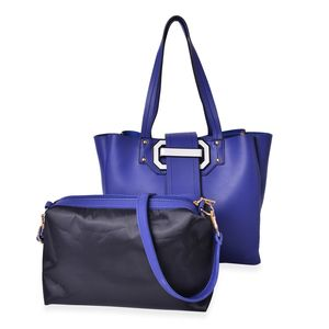 Blue and Black Faux Leather Buckle Tote Bag with Standing Studs (12x4.75x11 in) and Matching Crossbody Pouch with Removable Strap (11x3x7 in)