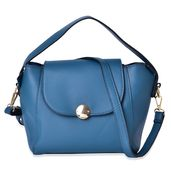 Aqua Faux Leather Satchel Bag with Removeable Shoulder Strap (8.4x5x8 in)