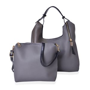Gray Faux Leather Spacious Tote (18x5.5x10 in) with Matching Crossbody Bag (12x3x10 in)