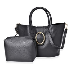 Black Faux Leather Tote (15.4x11x9.2 in) and Pouch Bag (6x7.4x6.6 in)