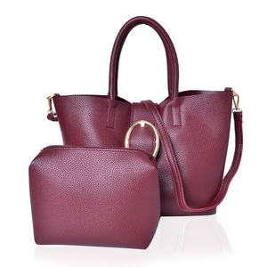 Burgundy Faux Leahter Tote (15.4x11x9.2 in) and Pouch Bag (6x7.4x6.6 in)