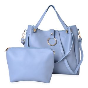 Slate Blue Faux Leather Tote with Standing Studs (17x4.5x12 in) and Matching Crossbody Bag (8x7.5 in)