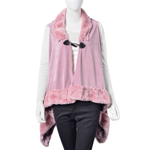 Lilac 100% Polyester Vest with Faux Fur Collor & Bottom (One Size)
