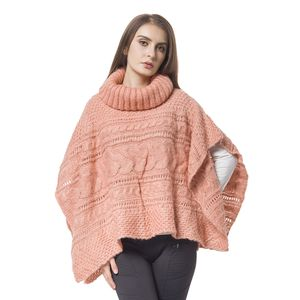 Peach 100% Acrylic  Knitted Turtleneck Poncho (One Size)
