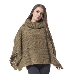 Brown 100% Acrylic Knitted Turtleneck Poncho (One Size)