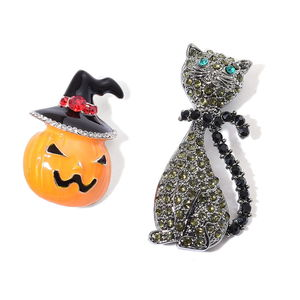 Halloween Multi Color Austrian Crystal, Enameled Darek Silvertone Set of 2 Black Cat and Jack-o-lantern Brooch