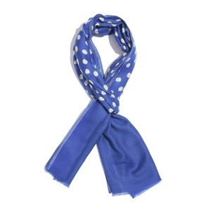 Royal Blue Polka Dot Pattern 90% Merino and 10% Silk Scarf (20x72 in)
