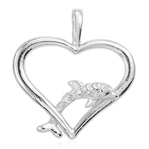 Sterling Silver Dolphin Heart Pendant without Chain (2.1 g)