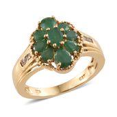 Kagem Zambian Emerald, White Topaz 14K YG Over Sterling Silver Ring (Size 5.0) TGW 1.88 cts.