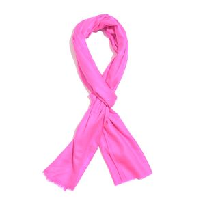 Hot Pink 100% Cashmere Wool Checkered Pattern Scarf (80x28 in)