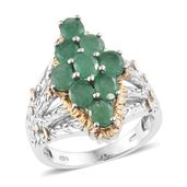 Kagem Zambian Emerald 14K YG and Platinum Over Sterling Silver Ring (Size 9.0) TGW 2.78 cts.