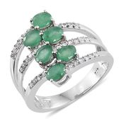 Kagem Zambian Emerald, Cambodian Zircon Platinum Over Sterling Silver Ring (Size 5.0) TGW 2.72 cts.