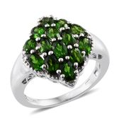 Russian Diopside Platinum Over Sterling Silver Ring (Size 7.0) TGW 3.45 cts.
