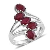 Niassa Ruby Platinum Over Sterling Silver 5 Stone Ring (Size 7.0) TGW 5.32 cts.