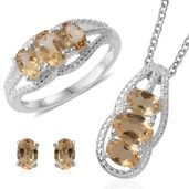 Brazilian Citrine Sterling Silver Earrings, Ring (Size 5) and Pendant With Stainless Steel Chain (20 in) TGW 4.40 cts.