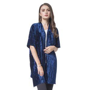 Indigo Blue Stripe Pattern Velvet 100% Polyester Kimono (One Size)