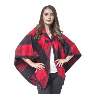 Black and Red Plaid 50% Acrylic and 50% Polyester Pattern Cape with Button (One Size)