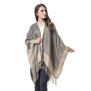 Grey and Coffee 100% Acrylic Open Front Kimono (3.47x49.22 in) with Tassels