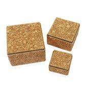 Golden Beaded Set of 3 Nested Bling Box