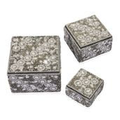Handcrafted Set of 3 Silver Beaded Bling Nesting Storage Boxes (4x2.5-2x1 in)