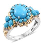Arizona Sleeping Beauty Turquoise, Cambodian Zircon 14K YG and Platinum Over Sterling Silver Ring (Size 10.0) TGW 4.33 cts.