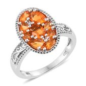 Salamanca Fire Opal, Cambodian Zircon Platinum Over Sterling Silver Cluster Ring (Size 5.0) TGW 1.40 cts.
