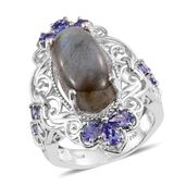Malagasy Labradorite, Tanzanite Platinum Over Sterling Silver Elongated Ring (Size 6.0) TGW 11.97 cts.
