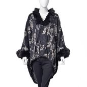 Black and White 100% Acrylic Floral Pattern Faux Fur Trimmed Kimono (One Size)