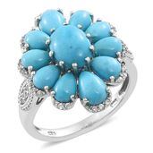 Arizona Sleeping Beauty Turquoise, Cambodian Zircon Platinum Over Sterling Silver Ring (Size 6.0) TGW 6.86 cts.