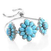 Arizona Sleeping Beauty Turquoise, Cambodian Zircon Platinum Over Sterling Silver Bracelet (7.50 In) TGW 14.54 cts.