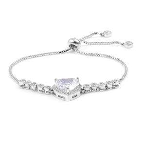 Simulated White Diamond Silvertone Magic Ball Heart Bracelet (Adjustable) TGW 4.00 cts.