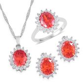 One Day TLV Simulated Orange and White Diamond Silvertone Earrings, Ring (Size 7) and Pendant With Chain (20 in) TGW 12.00 cts.