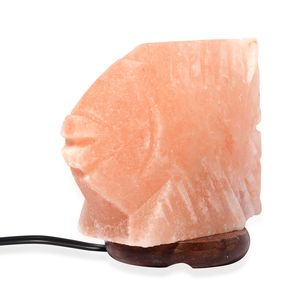 Doorbuster Fish Shaped Natural Rock Salt Lamp with Wooden Round Base (7x6 in)
