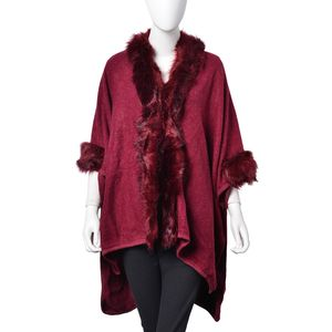 Wine 5% Wool, 25% Acrylic, 25% Cotton and 45% Polyester Kimono with Faux Fur Trimming (One Size)