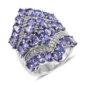 Tanzanite, Cambodian Zircon Platinum Over Sterling Silver Elongated Ring (Size 7.0) TGW 7.66 cts.