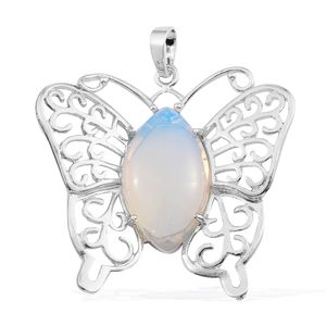 Opalite Silvertone Butterfly Pendant without Chain TGW 1.10 cts.