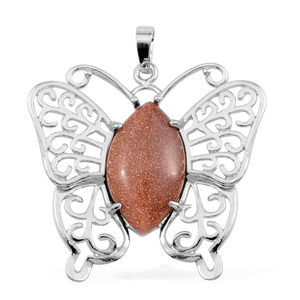 Goldstone Silvertone Butterfly Pendant without Chain TGW 2.30 cts.